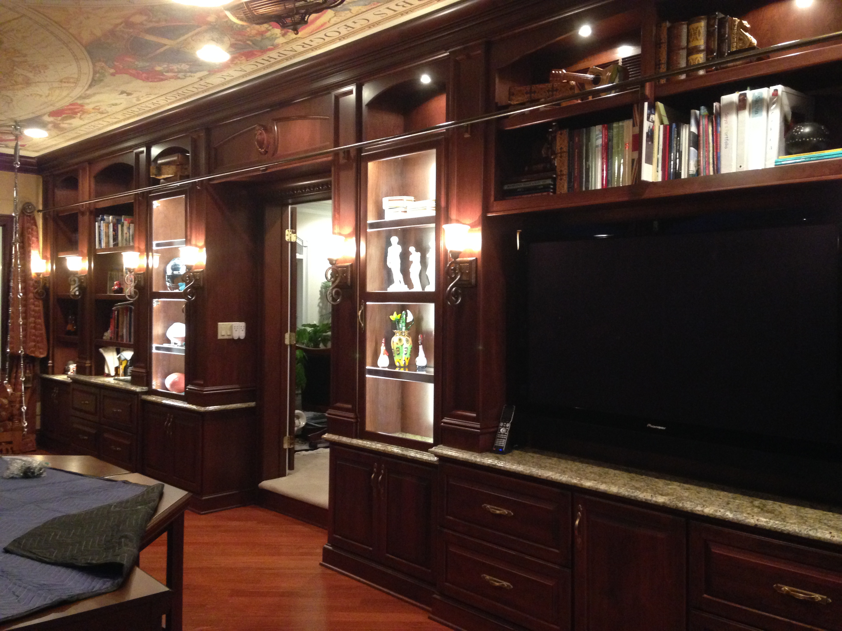 Wall To Wall Built In Cherry Office Cabinetry